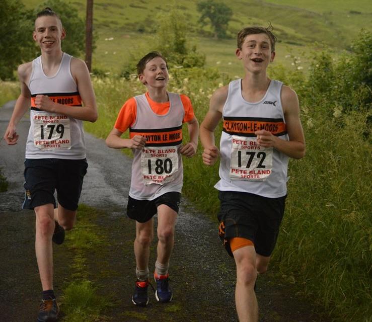 The wanderers return! Tom Bradley, Ryan Clarke and Jordan Mcdonald finish the Downhill race. Photo David Belshaw