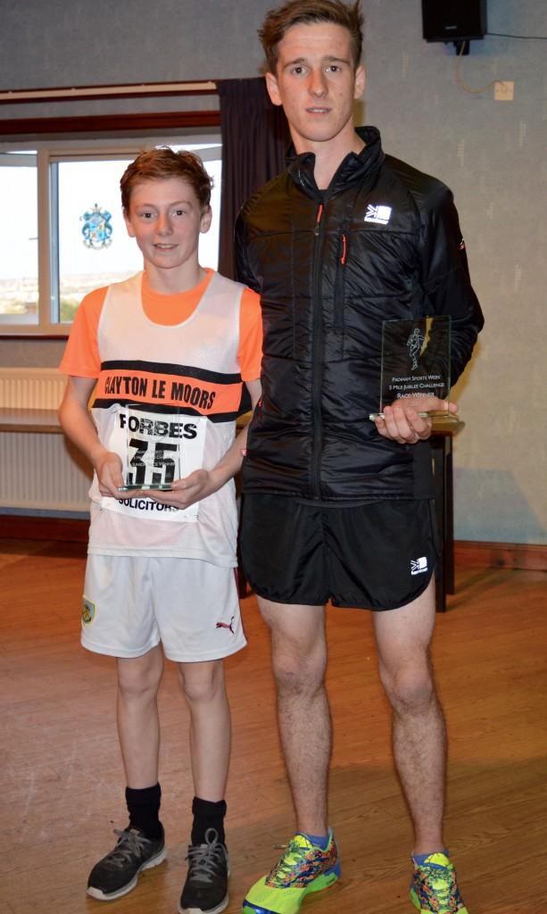 Ryan Clarke, Junior winner and Danny Collinge overall winner at the Padiham Jubilee 5 Mile Race. Photo by Nick Olszewski