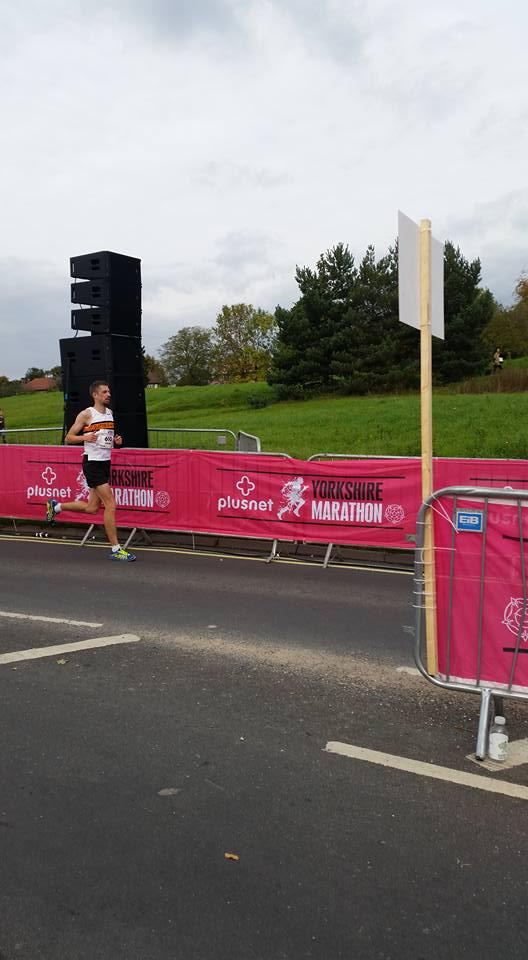 Richard Stevenson at the finish line of the Plusnet Yorkshire marathon
