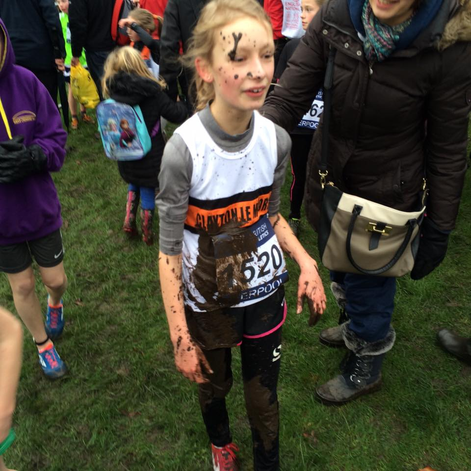 Ella Dorrington after her finishing line body slide! Photo by Alan Dorrington