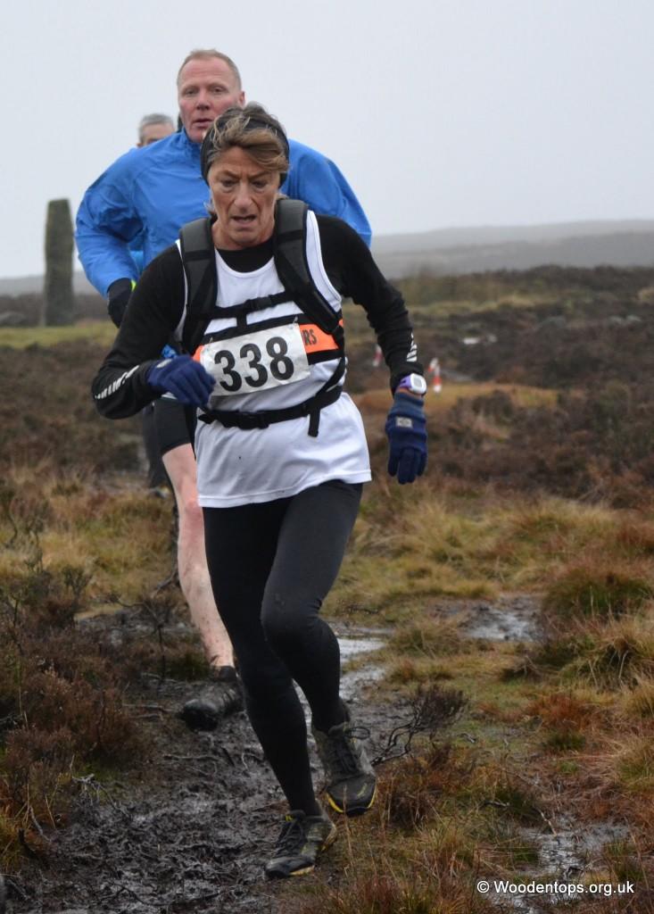 Linda Bostock at the Mytholmroyd Fell Race. Photo by Woodentops