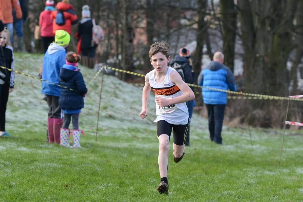 Dexta Thompson in the U11 Boys' race. Photo by David Belshaw