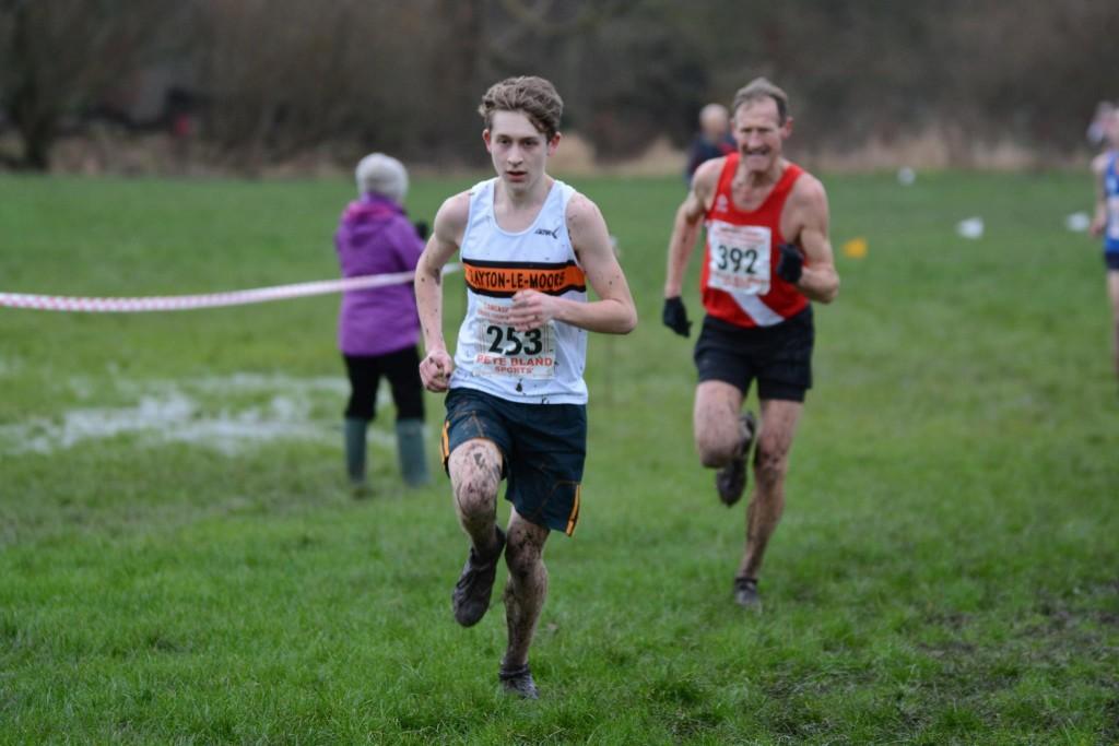Jordan McDonald, silver medallist, at the Lancashire Cross Country Championships. Photo by David Belshaw