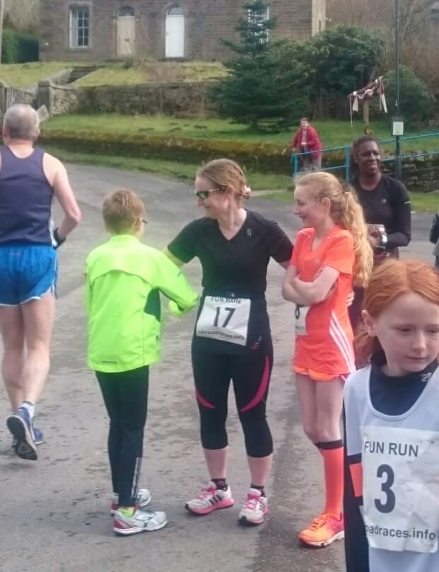 Finan and Roanna Holdsworth and Helana White at the Calder Vale fun run