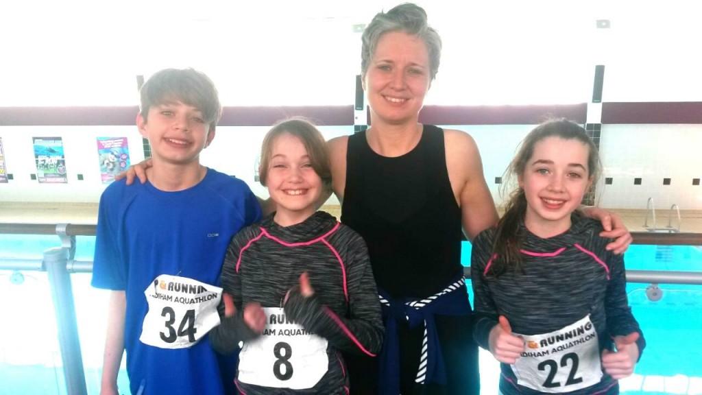 Team Stevenson. L-R Adam, Keira and Rachel with their mum Deborah at the Padiham Aquathlon