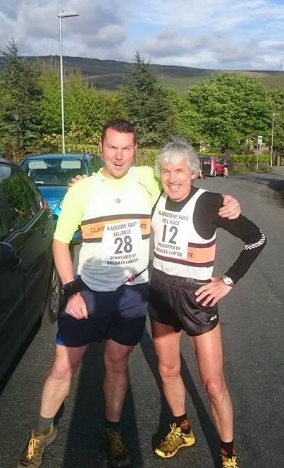 Darren Rushton and Keiran Carr at the Blackstone Edge Fell Race.