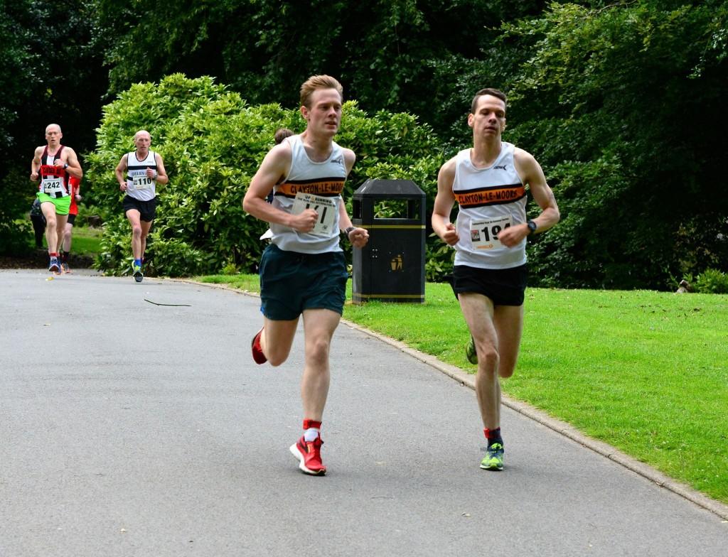 Jonathan Pye and Jacob Watson racing at the Todmorden 5K. Photo by David Belshaw
