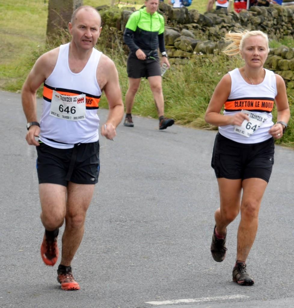 Sean Clare running with sister Deborah Greenwood at the Boulsworth Fell Race. Photo by Nicholas Olszewski