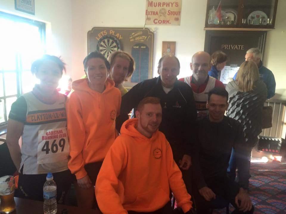 More Team Clayton runners at Guys 10. L-R Donna Airey, Elizabeth Mullan, Adam Stephenson, David Scott, Ian Hargreaves Front - Matthew Duckworth and Jacob Watson and Matthe