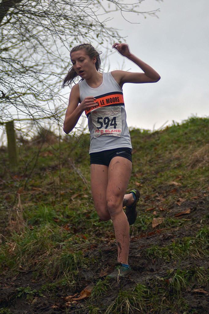 Briony Holt in the U15 girls race. Photo by Bryn Barnes