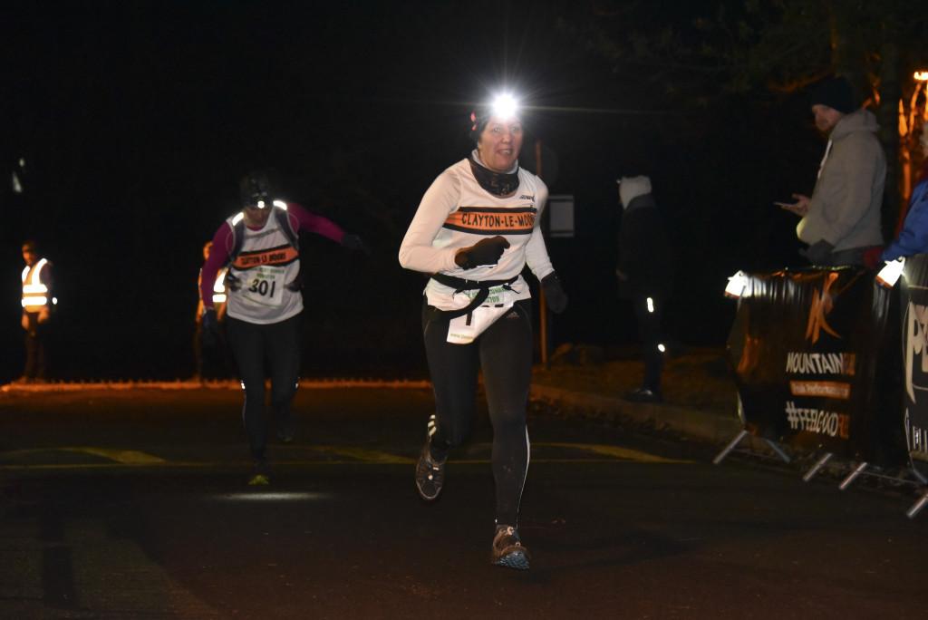 Nerina Gill and Julia Rushton crossing the line at the Petzl Rivington Night Runner. Photo courtesy of SportSunday