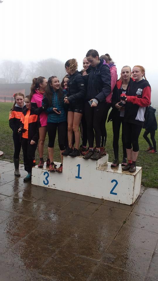 A rather packed podium. Bronze medal winning U15 Girls Briony Holt, Mille Stubbs, Natasha Olszewska and Liberty Thompson