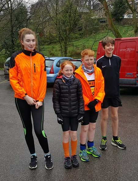L-R Lucy Stevenson, Helana White, Alfie White and Adam Stevenson at the Calder Vale fun run. Photo by Deborah Stevenson