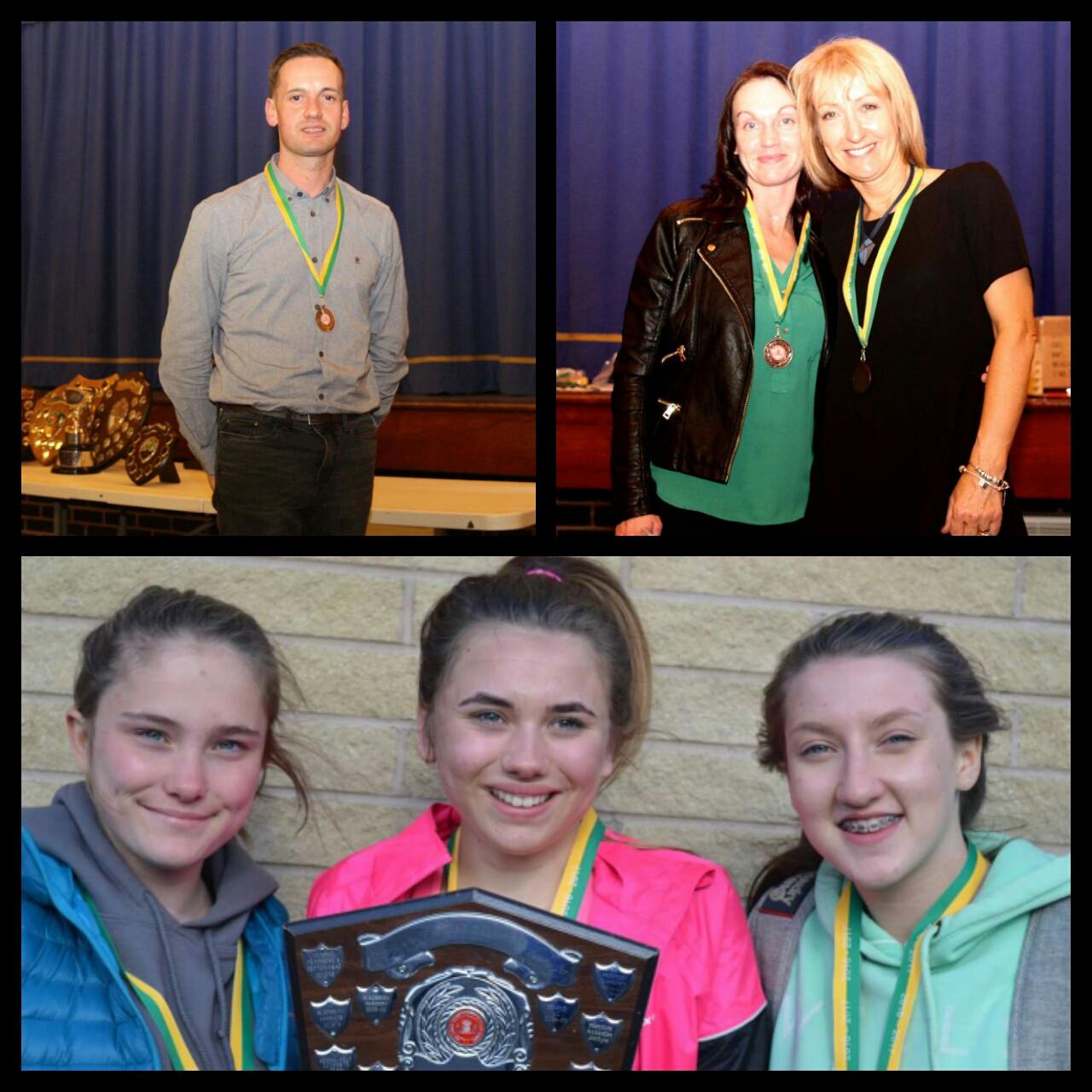 Top Row: Mick Hughes, Michelle Abbott, Irene Roche Bottom Row: U15 Girls - Natasha Olszewska, Millie Stubbs and Briony Holt