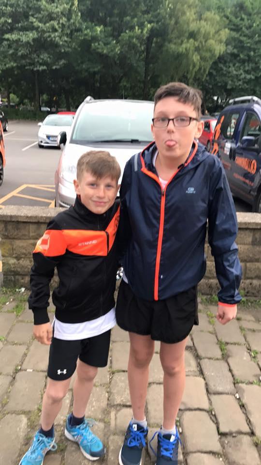 Matthew and Lennon Jackson at the Todmorden Park 5K