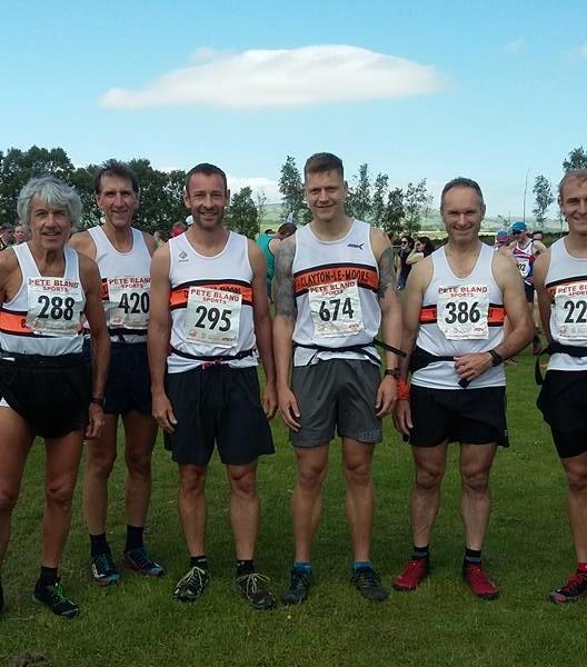 Tebay Fell Race. L- R Kieran Carr, Jack Holt, Peter Coates, James, Neil Hardiman and