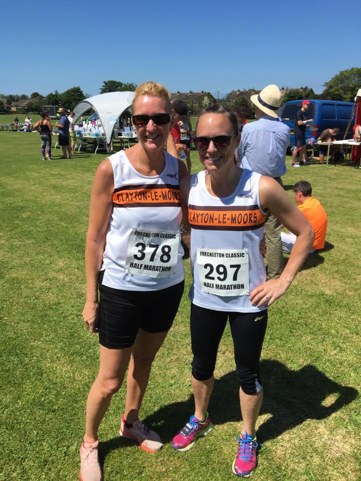 Sarah Angelone and Janine Pollard ready for the Freckleton Half Marathon