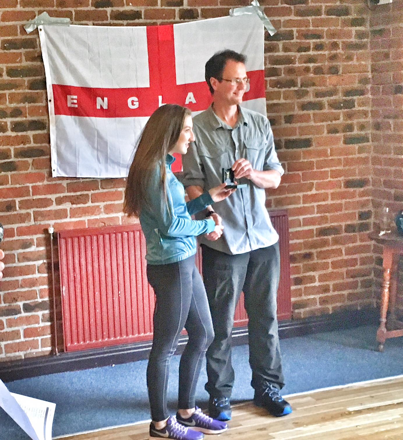 English Junior Fell Championships medal for Briony Holt. Photo Alan Dorrington