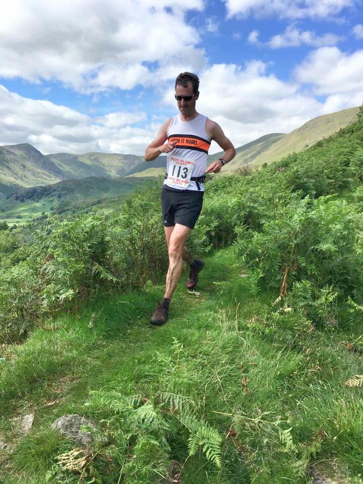 Alan Dorrington heading to the finish in Kentmere village. Photo: Mick Dobson