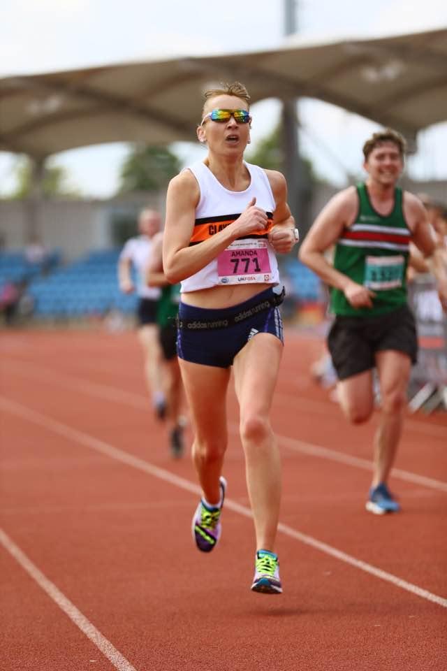Amanda Duffy racing hard at the We Love Manchester 10K