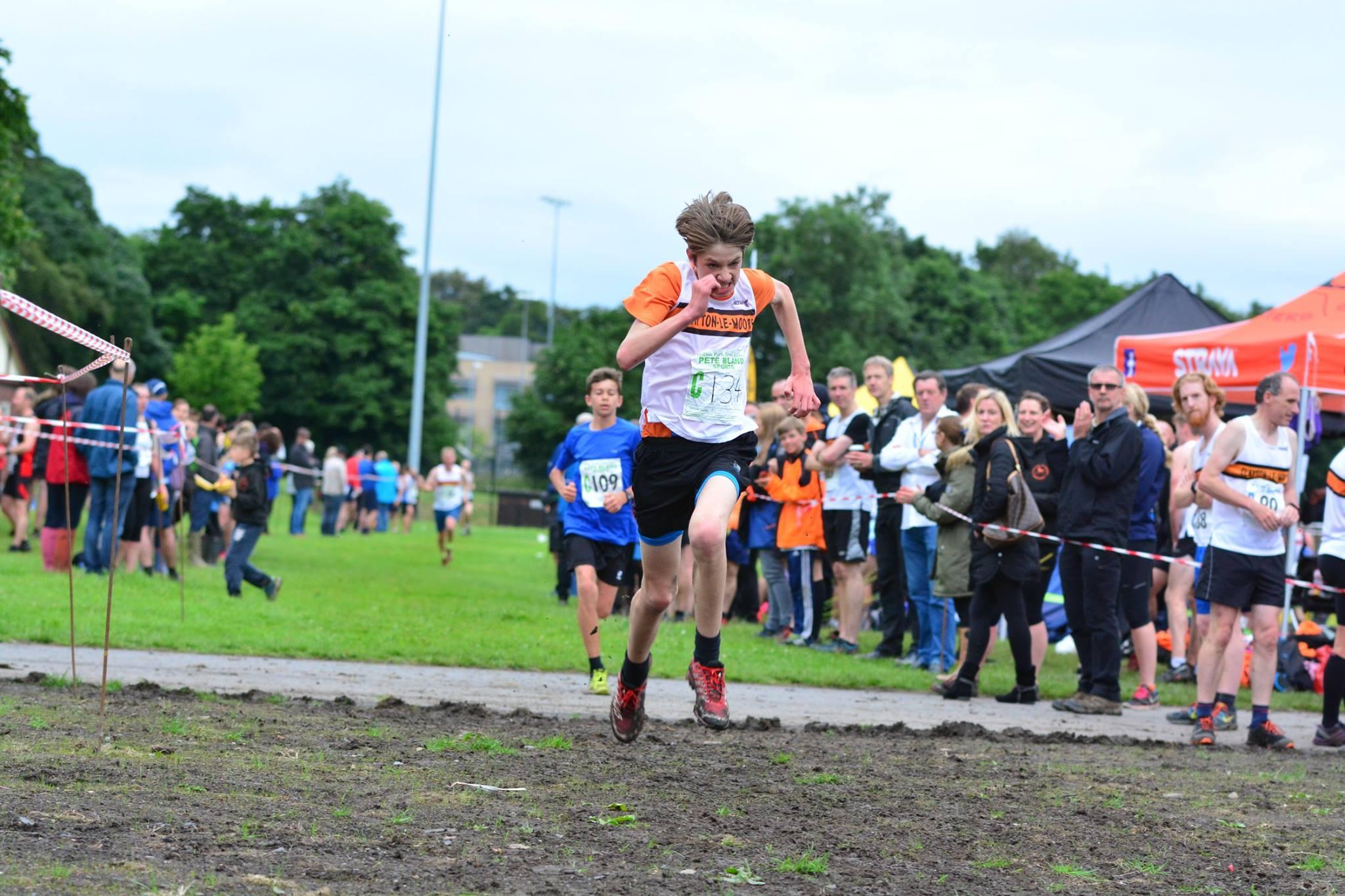 Sprint finish from junior runner, Adam Stevenson. Photo by David Belshaw