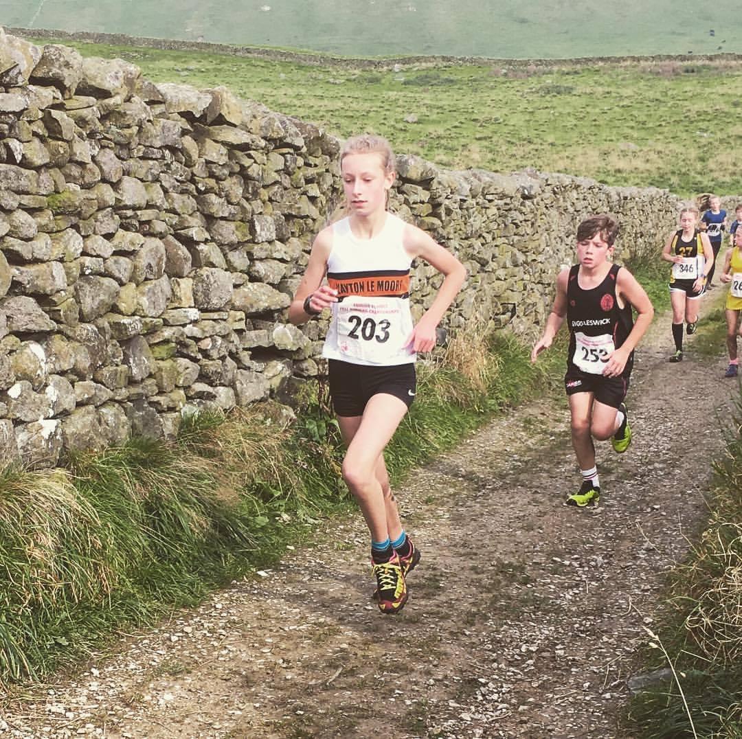 Ella Dorrington at the English Schools Fell Running Championship. Photo by Alan Dorrington