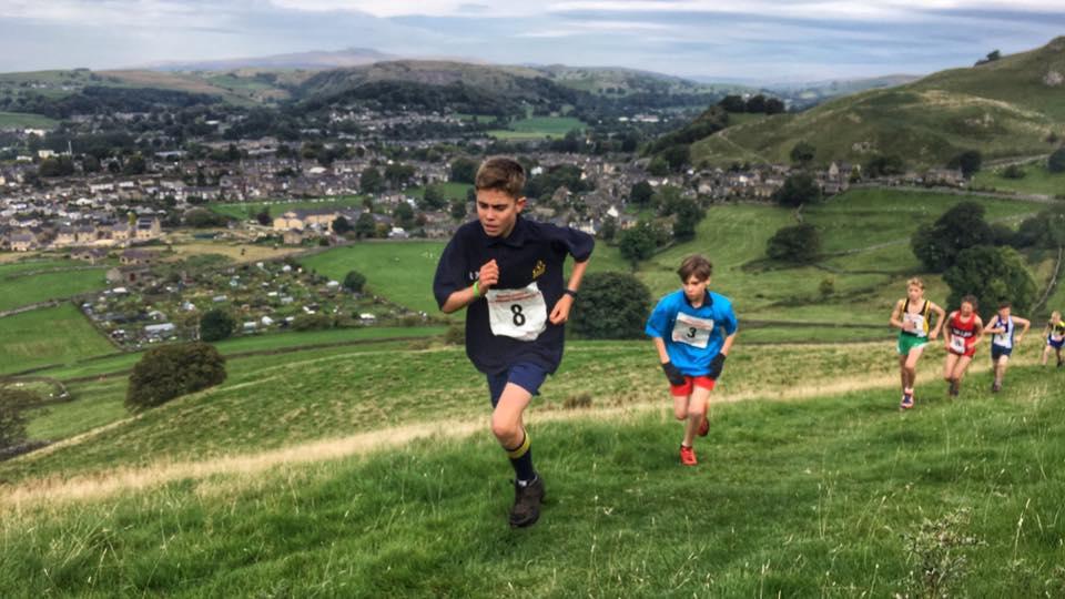 Robbie Smedley (no 8) at the English Schools Fell Running Championship. Photo by Alan Dorrington