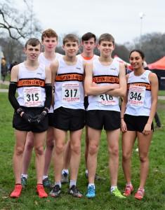 U17s (L-R Charlie Parkinson, Caleb Thornber, Peter Stevens, Nick Hennessey, Michael Stevens, Nicola Moynihan). Photo: David Belshaw
