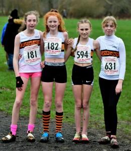 U13 Girls' Team (L-R Amelia Halstead, Helana White, Sianna Smith, Eleanor Edwards). Photo : David Belshaw