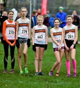 U15 Girls' Team (L-R Sophie Ashworth, Ella Dorrington-Levy, Bethany Wheatcroft, Hannah Eccles, Imogen Ferguson). Photo: David Belshaw
